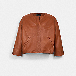 LIGHTWEIGHT LEATHER JACKET - SADDLE - COACH 1522