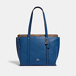 MAY TOTE WITH SIGNATURE CANVAS DETAIL - IM/DEEP ATLANTIC KHAKI - COACH 1575