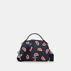 SERENA SATCHEL WITH WATERMELON PRINT - SV/NAVY RED MULTI - COACH 1594