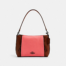 SMALL MARLON SHOULDER BAG IN COLORBLOCK - QB/REDWOOD/PINK LEMONADE MULTI - COACH 1598