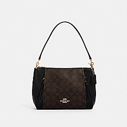 SMALL MARLON SHOULDER BAG IN SIGNATURE CANVAS - IM/BROWN BLACK - COACH 1600