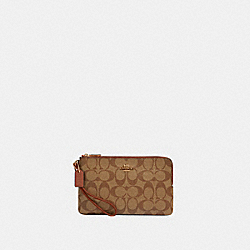 DOUBLE ZIP WALLET IN SIGNATURE CANVAS - IM/KHAKI REDWOOD - COACH 16109