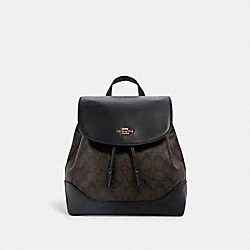 ELLE BACKPACK IN SIGNATURE CANVAS - IM/BROWN BLACK - COACH 1613
