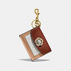 MINI PARKER BAG CHARM IN COLORBLOCK SIGNATURE CANVAS WITH SNAKESKIN DETAIL - B4/SADDLE/CLAY/CHALK/TANGERINE - COACH 1636