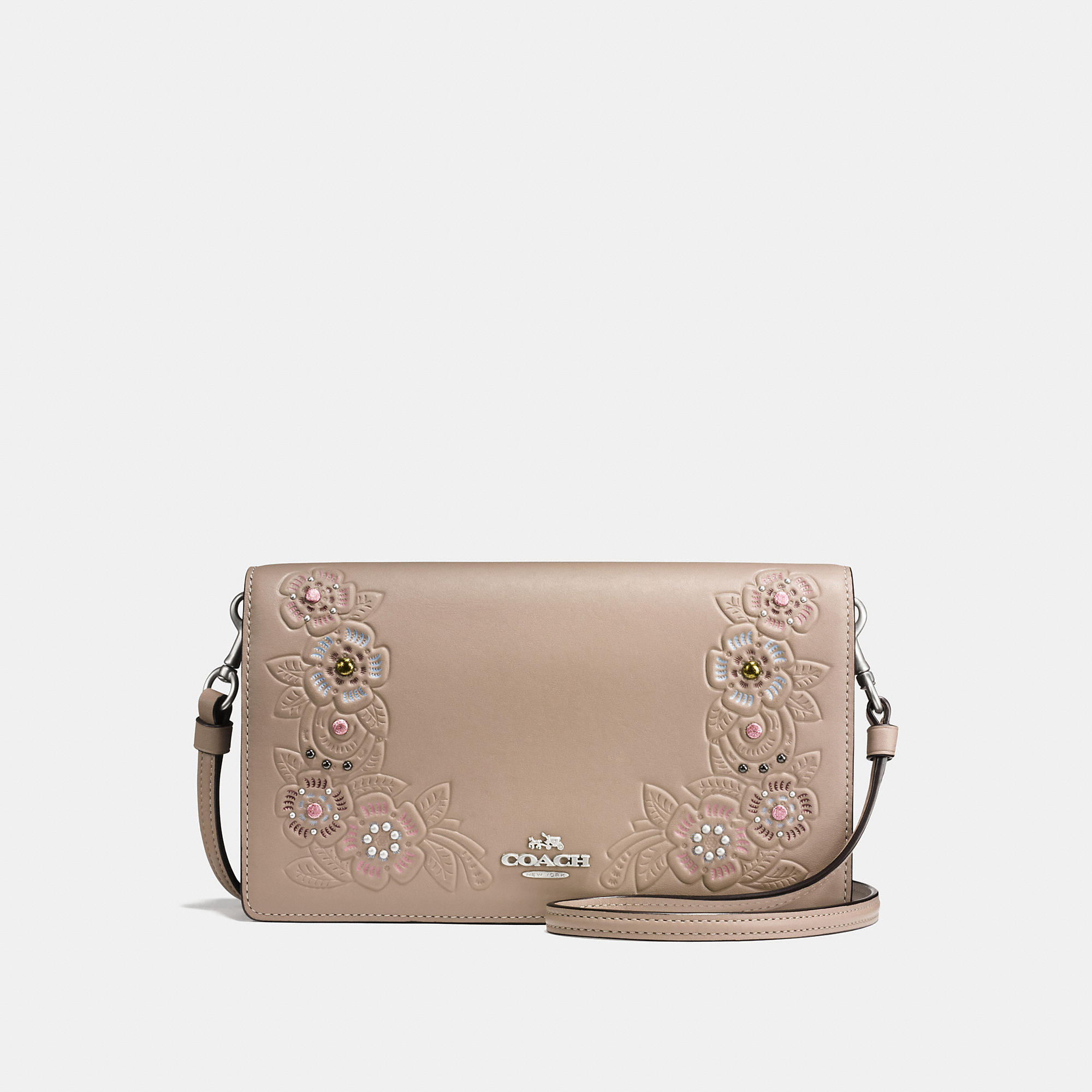 Coach Foldover Crossbody Clutch In Glovetanned Leather With Tea Rose Tooling