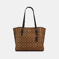 MOLLIE TOTE IN SIGNATURE CANVAS - IM/KHAKI/BLACK - COACH 1665