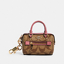 MINI ROWAN SATCHEL BAG CHARM IN SIGNATURE CANVAS - IM/LT KHAKI/ ROSE - COACH 1716