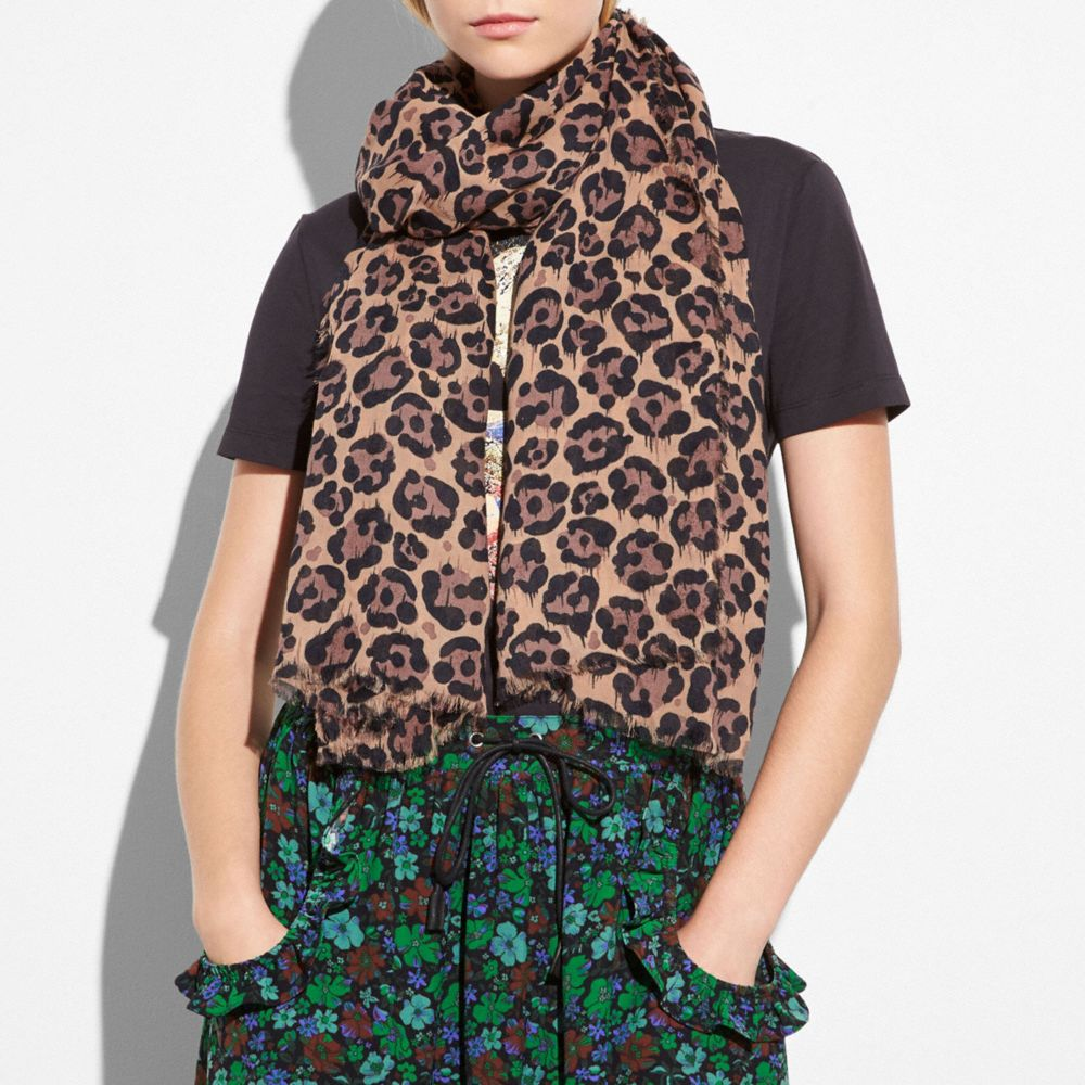 Coach All Over Wild Beast Printed Shawl Alternate View 1