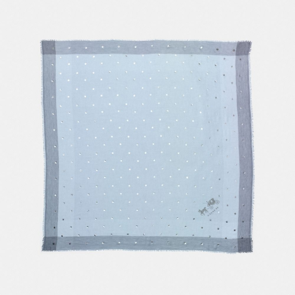 Coach Scattered Stars Foil Print Windowpane Challis