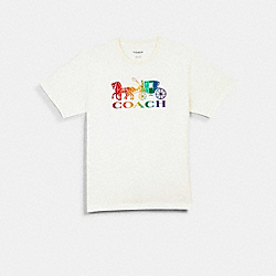 RAINBOW HORSE AND CARRIAGE T-SHIRT - WHITE - COACH 1875