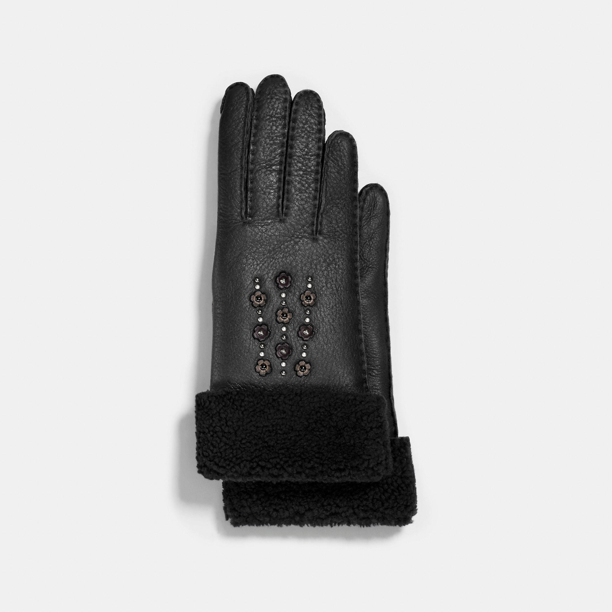 Coach Tea Rose Embellished Leather Gloves
