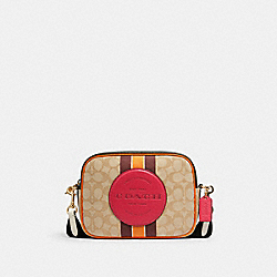 DEMPSEY CAMERA BAG IN SIGNATURE JACQUARD WITH STRIPE AND COACH PATCH - IM/LT KHAKI ELECTRIC PINK - COACH 1912