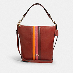 ABBY SHOULDER BAG WITH VARSITY STRIPE - IM/TERRACOTTA/ELCTRC PNK MULTI - COACH 1927