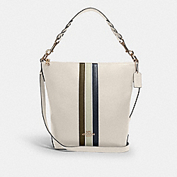 ABBY SHOULDER BAG WITH VARSITY STRIPE - SV/CHALK PALE GREEN MULTI - COACH 1927