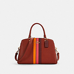 LILLIE CARRYALL WITH VARSITY STRIPE - IM/TERRACOTTA/ELCTRC PNK MULTI - COACH 1945