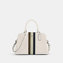 LILLIE CARRYALL WITH VARSITY STRIPE - SV/CHALK PALE GREEN MULTI - COACH 1945