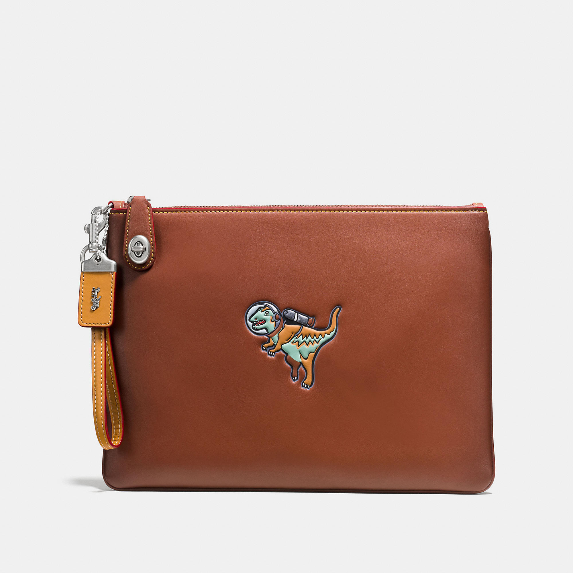 Coach Turnlock Wristlet 30 In Glovetanned Leather With Embossed Space Rexy
