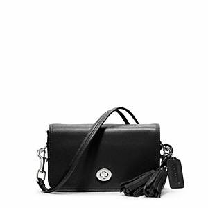 Coach - Legacy Leather Penny Shoulder Purse Sv/black