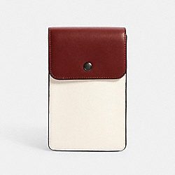 NORTH/SOUTH PHONE CROSSBODY IN COLORBLOCK - QB/CHALK/HEATHER GREY/BURGUNDY - COACH 2013