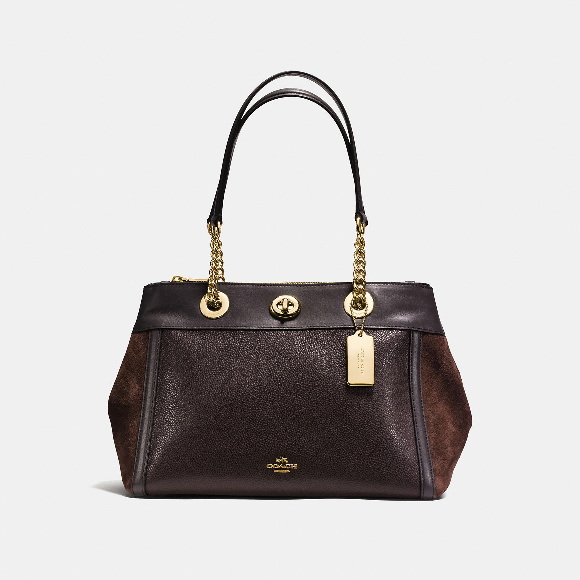 Coach Turnlock Edie Carryall In Mixed Leathers