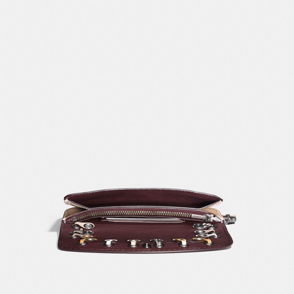 Coach Clutch With Snakeskin Coach Link Detail Alternate View 1