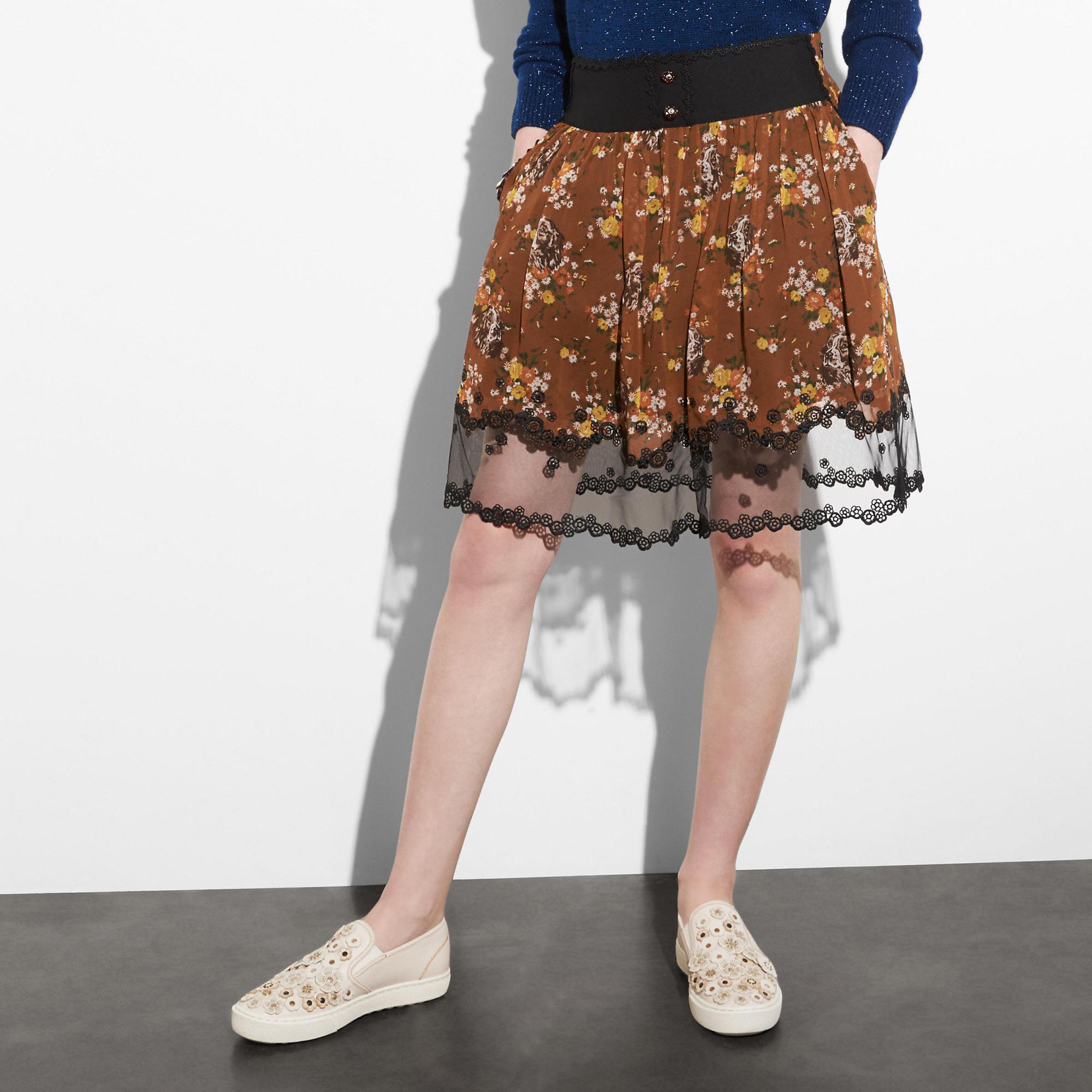 Coach Prairie Dog Rose Tiered Skirt