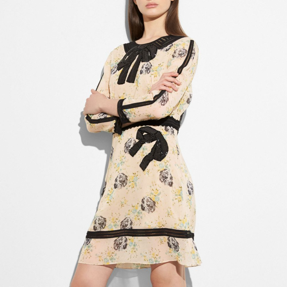 Coach Embroidered Prairie Dog Rose Dress Alternate View 1