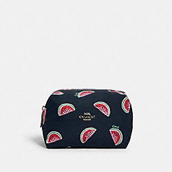 SMALL BOXY COSMETIC CASE WITH WATERMELON PRINT - SV/NAVY RED MULTI - COACH 2019