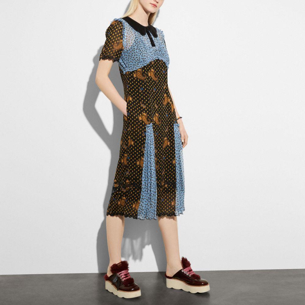 MIXED PRINT COLLAR DRESS