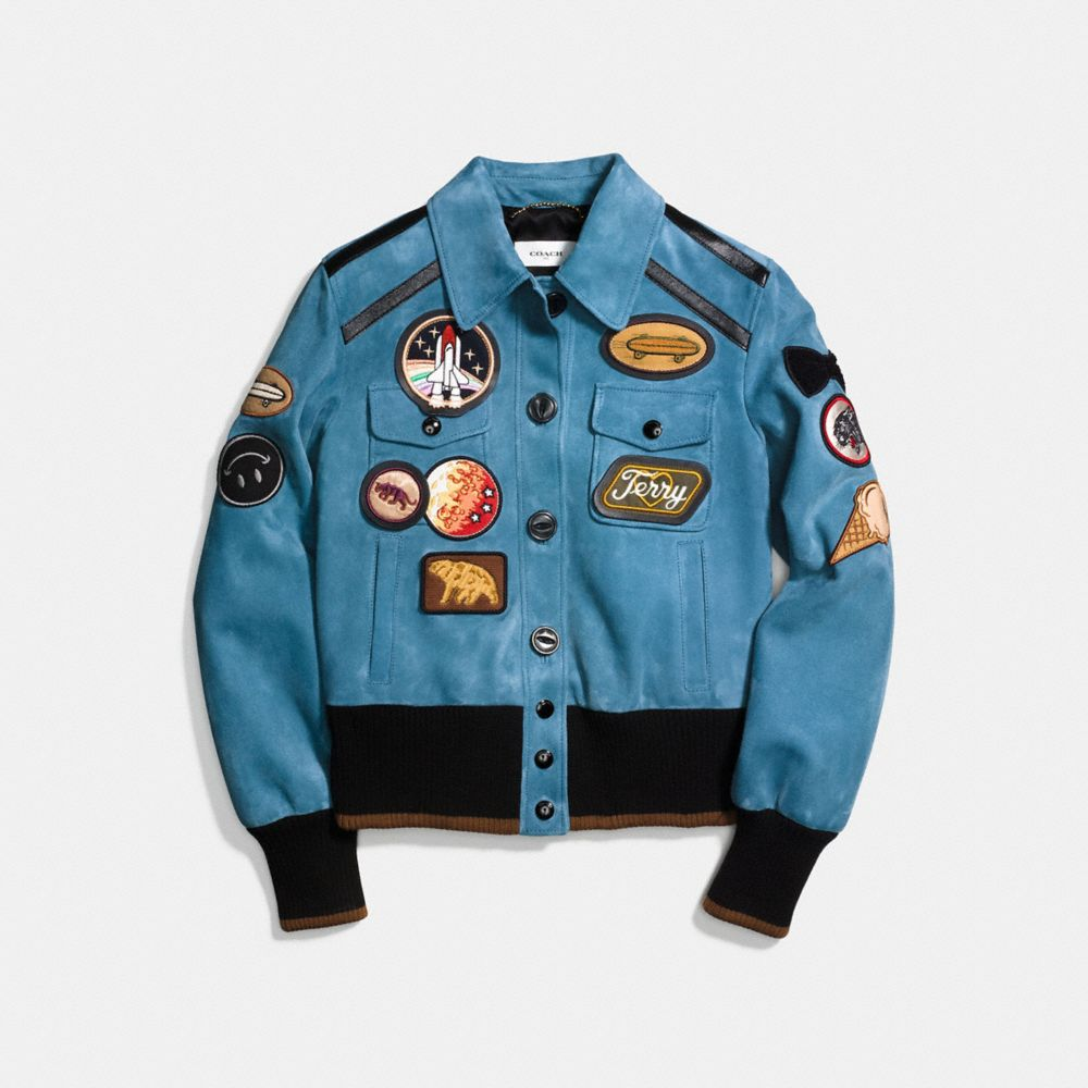 Coach Suede Jacket With Patches Alternate View 1