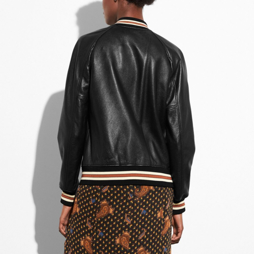 Coach Leather Varsity Jacket Alternate View 2