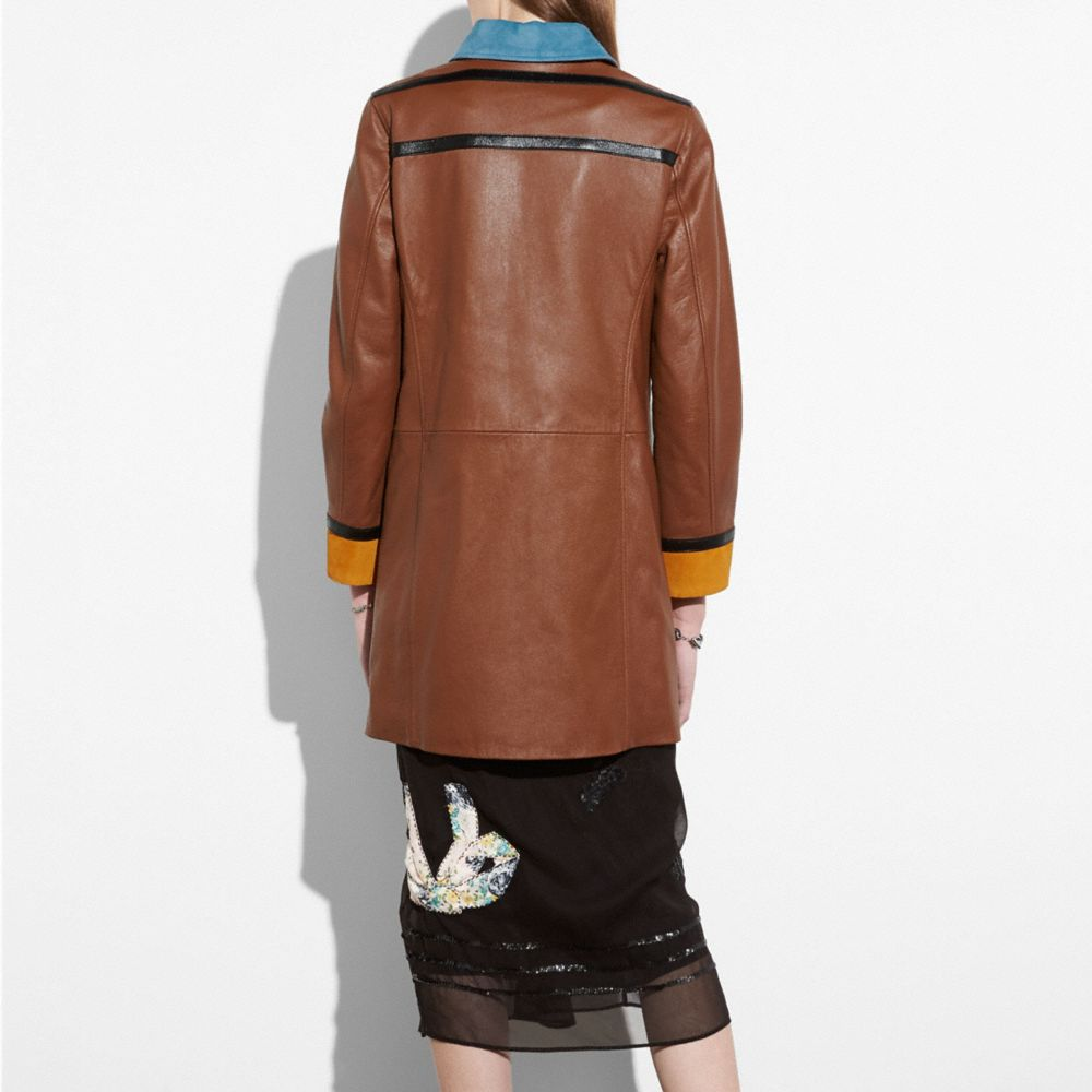 Coach Leather Coat With Suede Detail Alternate View 2