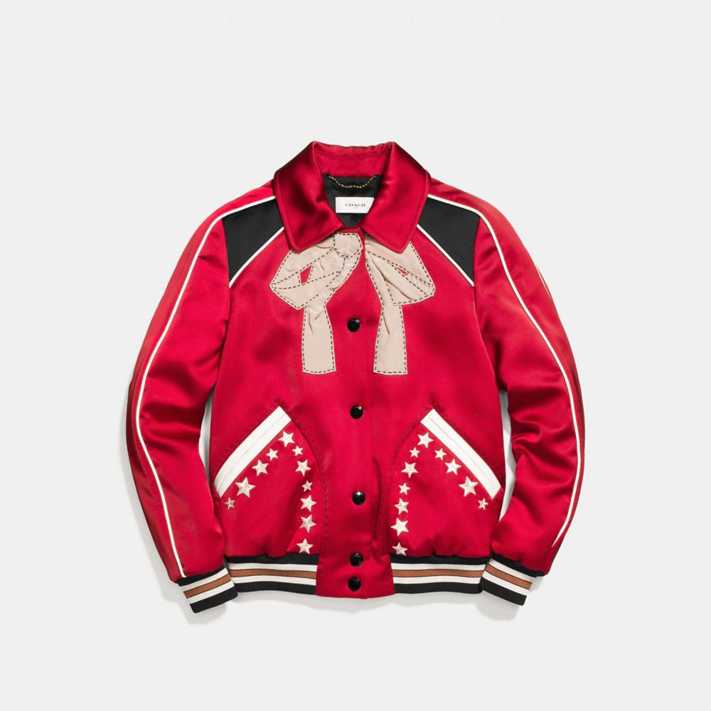 Coach Embroidered Varsity Souvenir Jacket Alternate View 1