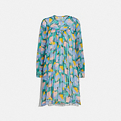 BOLD GEO YOKE MINI DRESS - GREEN/BLUE - COACH 2067