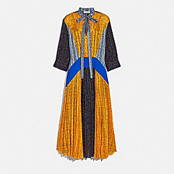 PLEATED TIE DRESS - BLUE/BLACK/YELLOW - COACH 2075