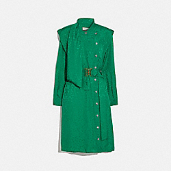 ARCHITECTURAL DRAPE BELTED DRESS - GREEN - COACH 2088