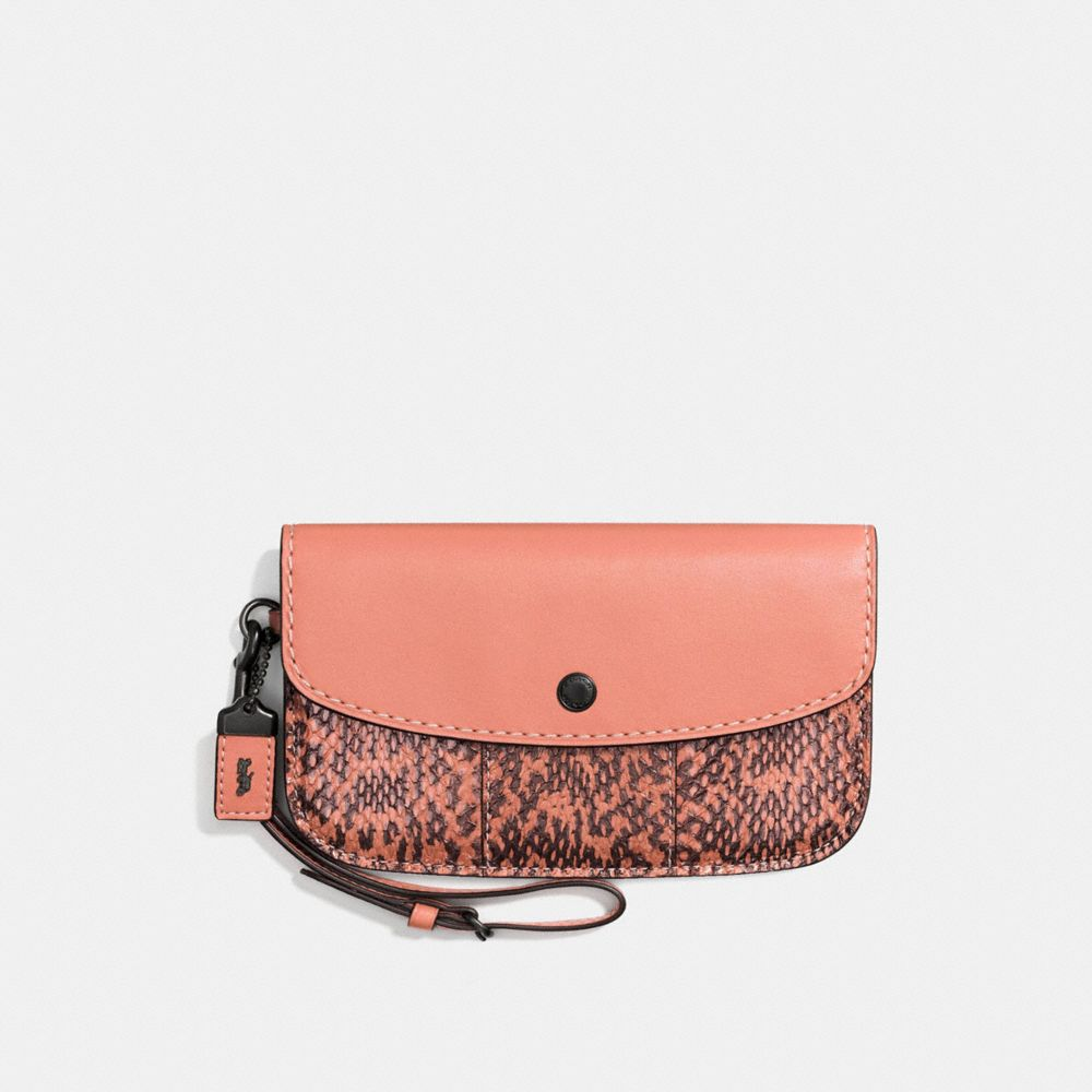 CLUTCH WITH COLORBLOCK SNAKESKIN DETAIL