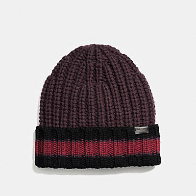 VARSITY 條紋針織帽
