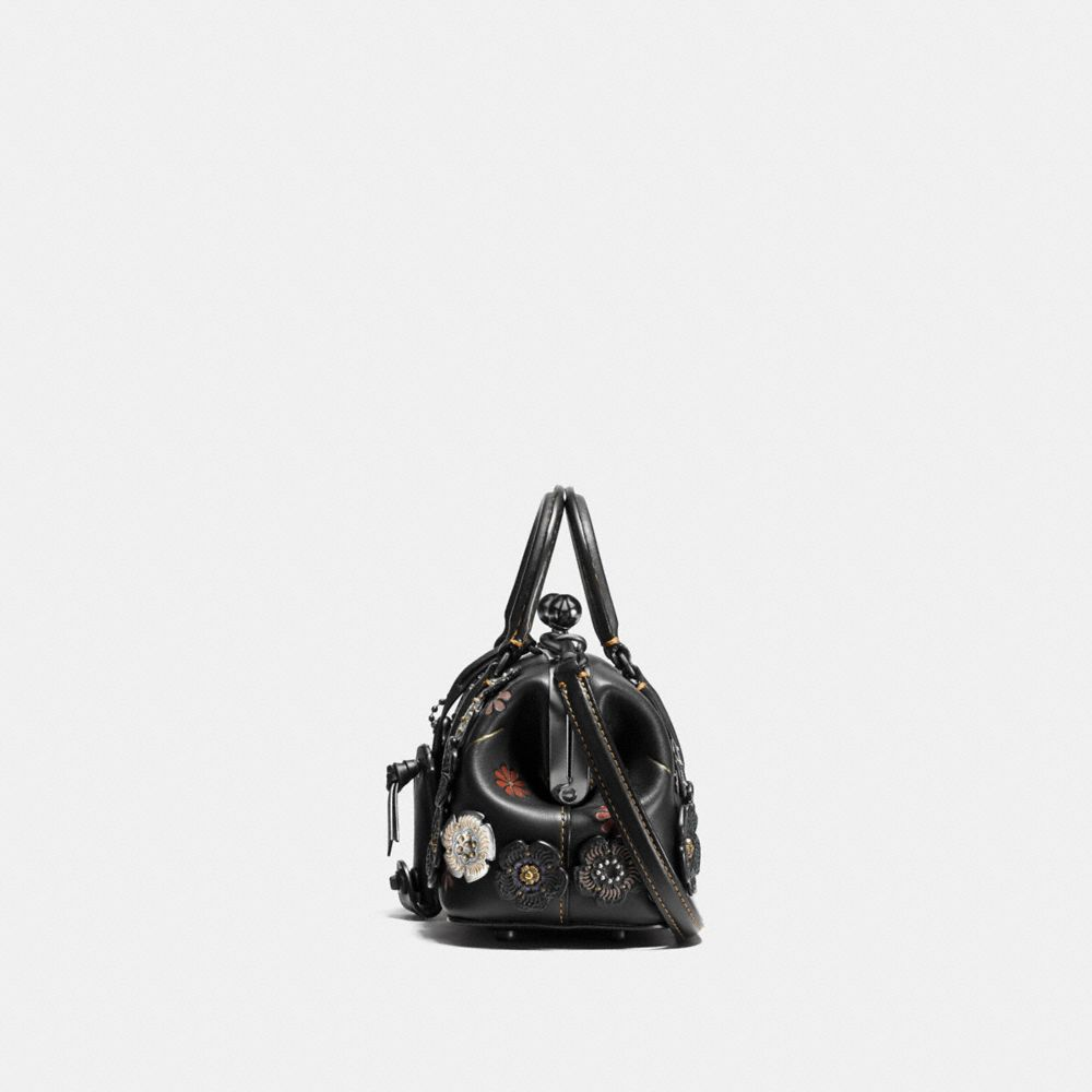 Coach Kisslock Satchel With Tooled Tea Rose Alternate View 1
