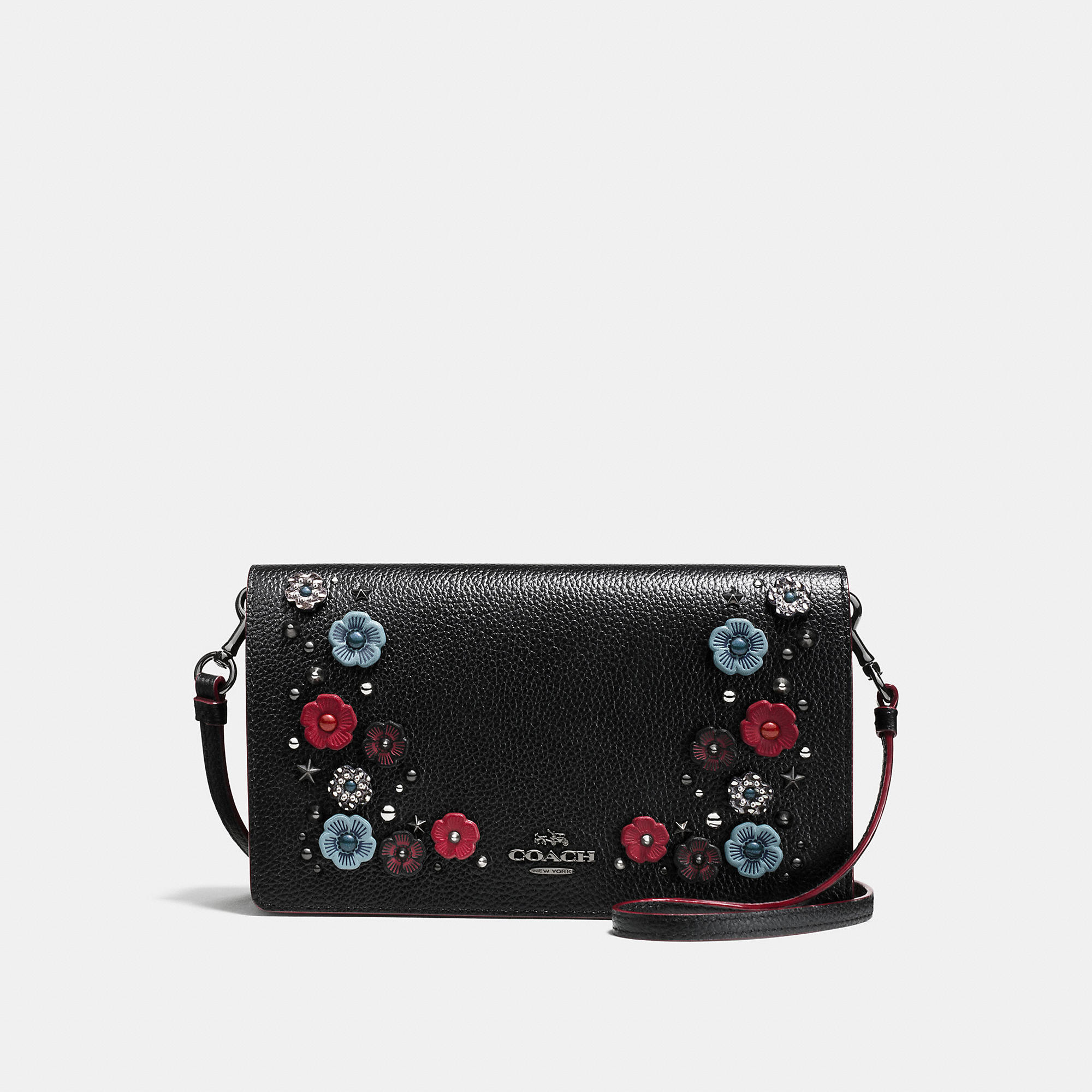 Coach Foldover Crossbody Clutch In Polished Pebble Leather With Snake Willow Floral