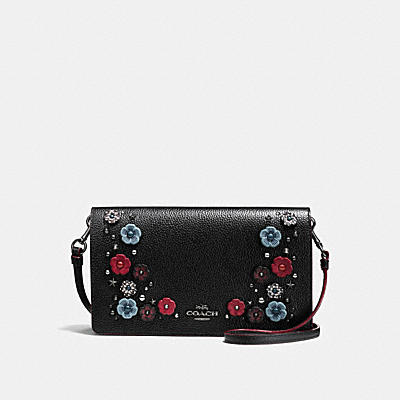 FOLDOVER CROSSBODY CLUTCH IN POLISHED PEBBLE LEATHER WITH SNAKE WILLOW FLORAL
