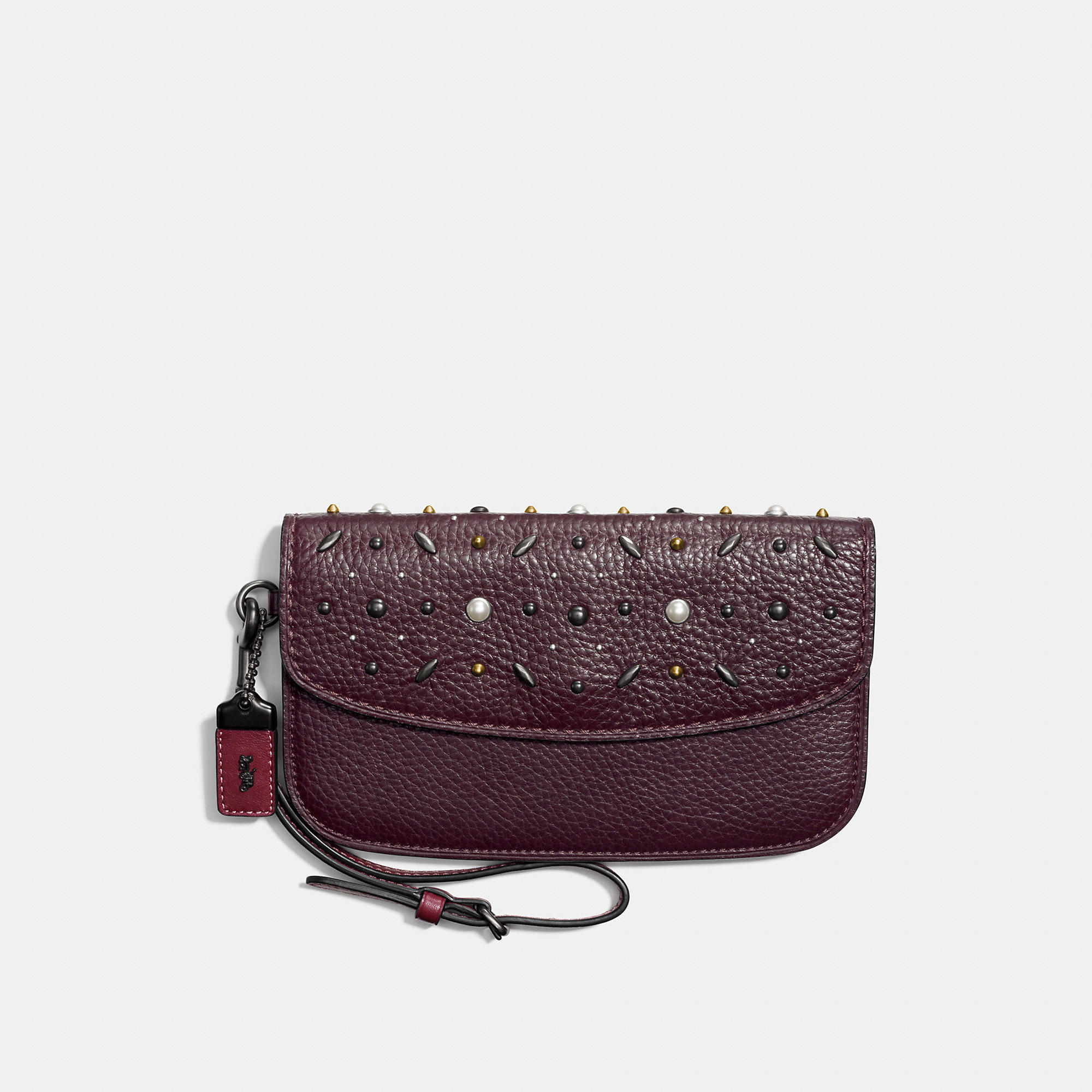 Coach Clutch In Natural Pebble Leather With Prairie Rivets