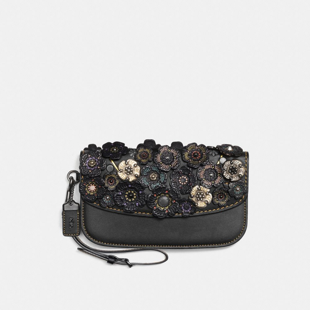 CLUTCH WITH TOOLED TEA ROSE