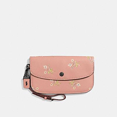 花卉蝴蝶結棒球手套鞣製皮革手拿包