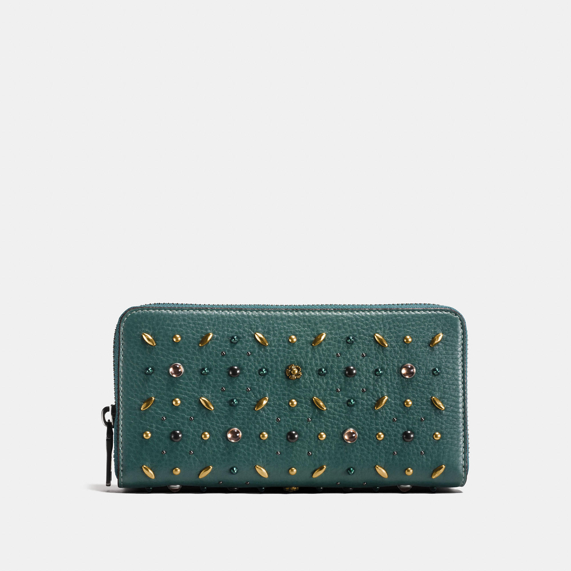 Coach Accordion Zip Wallet In Natural Pebble Leather With Prairie Rivets