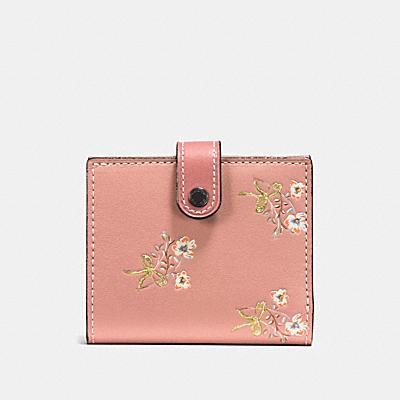 小型花卉蝴蝶結棒球手套鞣製皮革三折式皮夾
