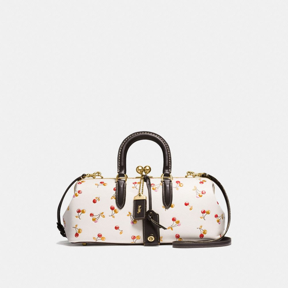 Coach Kisslock Satchel 38 With Colorblock Cherry Print