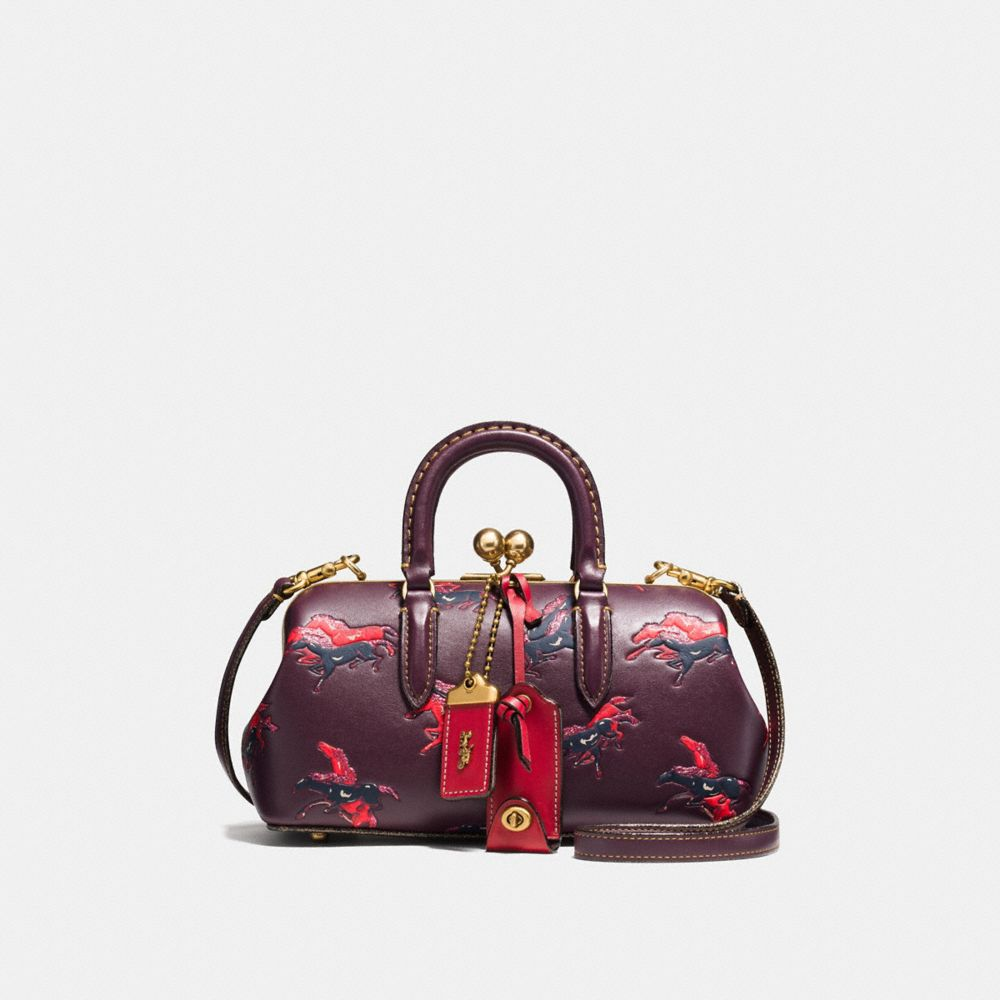 KISSLOCK SATCHEL WITH COLORBLOCK HORSE AND DUCK PRINT