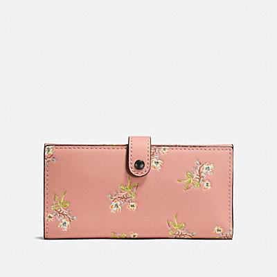 花卉蝴蝶結印花棒球手套鞣製皮革薄型三折式皮夾