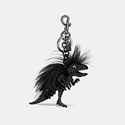 LONG MOHAWK REXY BAG CHARM - BK/BLACK - COACH 21772